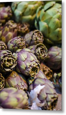Purple Artichokes At The Market Metal Print by Heather Applegate
