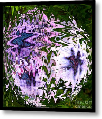 Purple Daisies World - Abstract Art Metal Print by Carol Groenen