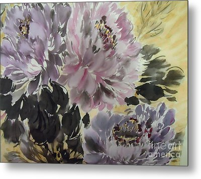 Metal Print featuring the painting Purple Dark Peony by Dongling Sun