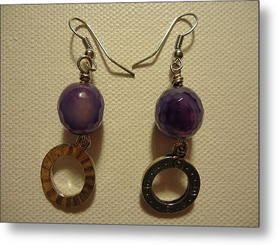 Purple Doodle Drop Earrings Metal Print