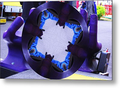 Purple Magic Fingers Chair Metal Print by Kym Backland