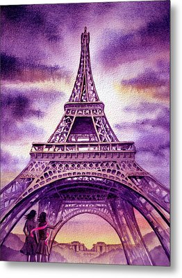 Purple Paris Metal Print by Irina Sztukowski