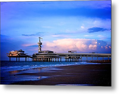 Purple Sunset Pier Metal Print by Catherine Murton
