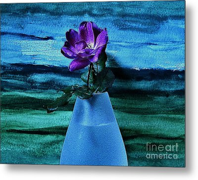 Purple Tea Rose Metal Print by Marsha Heiken