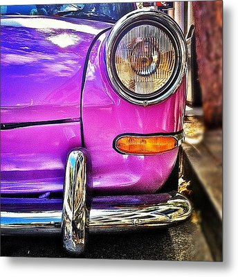Purple Vw Bug Metal Print by Julie Gebhardt