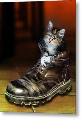 Puss In Boot Metal Print by Julie L Hoddinott