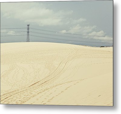 Pylon Atop Sand Dune Metal Print by Photograph by Chris Round