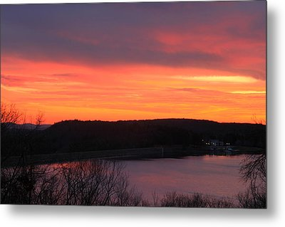 Quabbin Reservoir Windsor Dam Sunset Metal Print by John Burk