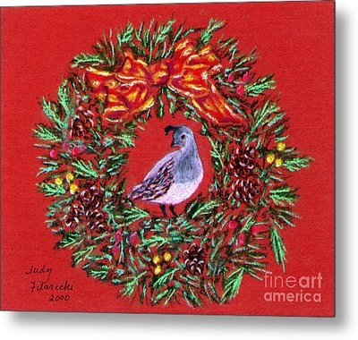 Quail Holiday Greeting Card Metal Print by Judy Filarecki