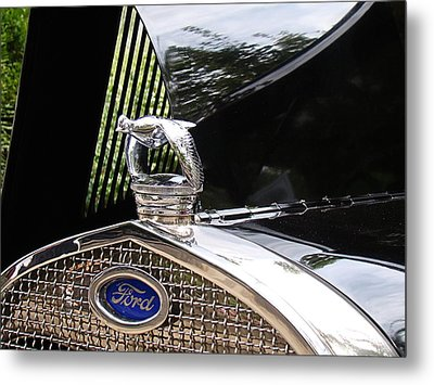Metal Print featuring the photograph Quail Radiator Cap- Ford by Nick Kloepping