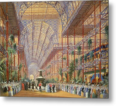 Queen Victoria Opening The 1862 Exhibition After Crystal Palace Moved To Sydenham Metal Print by Joseph Nash