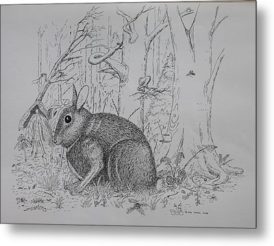 Rabbit In Woodland Metal Print