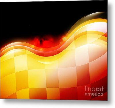 Race Car Speed Flames Background Metal Print by Angela Waye