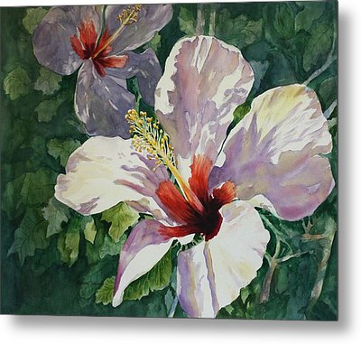 Metal Print featuring the painting Radiant Light - Hibiscus by Roxanne Tobaison