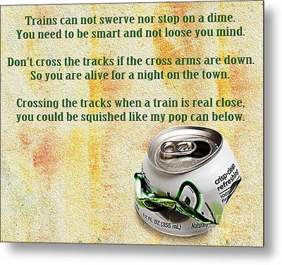 Rail Road Safety In Green Metal Print by Andee Design