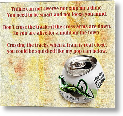 Rail Road Safety In Red Metal Print by Andee Design
