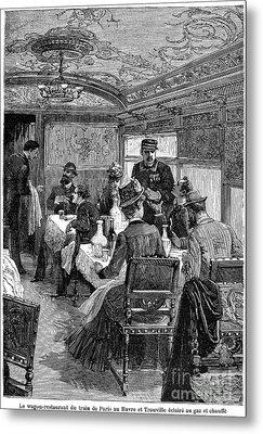 Railroad: Dining Car, 1880 Metal Print by Granger