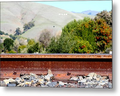 Railroad Track In Fremont California Near Historic Niles District In California . 7d12676 Metal Print by Wingsdomain Art and Photography