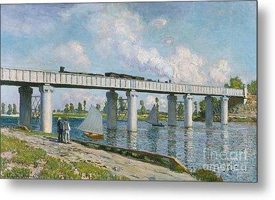 Railway Bridge At Argenteuil Metal Print by Claude Monet