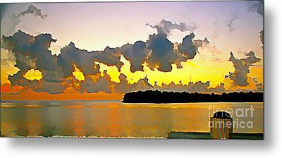 Metal Print featuring the photograph Rain Clouds At Sunset by Joan McArthur