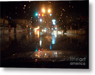 Rain Drop At Front Car Mirror Metal Print by Ngarare