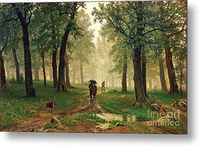Rain In The Oak Forest Metal Print by Pg Reproductions