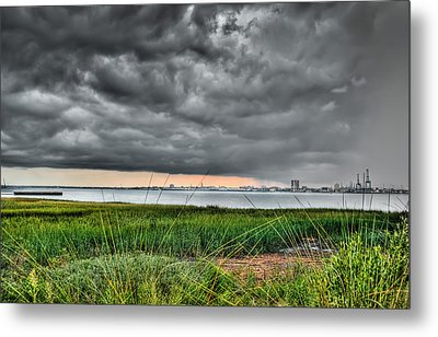 Rain Rolling In On The River Metal Print by Andrew Crispi