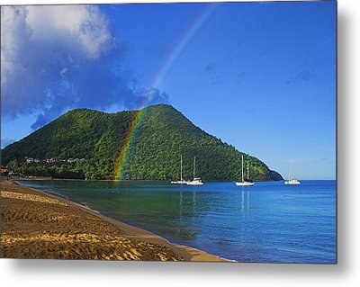Metal Print featuring the photograph Rainbow And Boats- St Lucia by Chester Williams