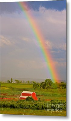 Rainbow And Red Barn Metal Print by James BO  Insogna