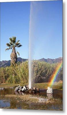 Rainbow At Old Faithful Metal Print by Jenna Szerlag