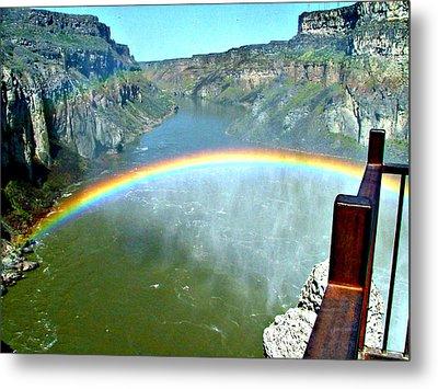 Rainbow At Shoshone Falls Id Metal Print