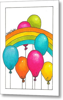 Metal Print featuring the painting Rainbow Balloons by Terry Taylor