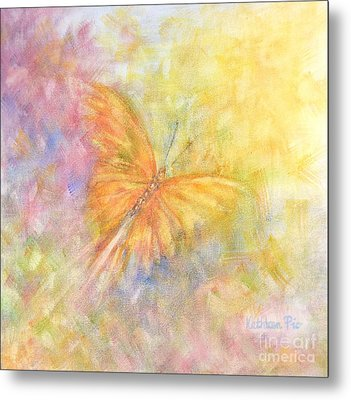 Metal Print featuring the painting Rainbow Butterfly 3 by Kathleen Pio