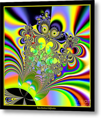 Rainbow Butterfly Bouquet Fractal 56 Metal Print by Rose Santuci-Sofranko