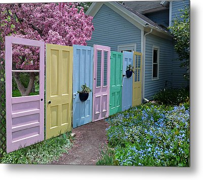 Metal Print featuring the photograph Rainbow Doors by Judy  Johnson