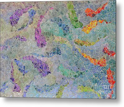 Rainbow Fish Mosaic Tile Abstract Metal Print by Debbie Portwood