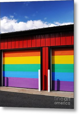 Rainbow Garage Metal Print