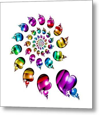 Rainbow Heart Wheel On White Metal Print by Pam Blackstone