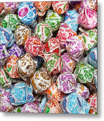 Rainbow Lollipops Square Metal Print by Andee Design