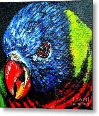 Metal Print featuring the painting Rainbow Lorikeet Look by Julie Brugh Riffey