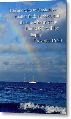 Rainbow Over Deep Blue Sea Pro. 16v20 Metal Print by Linda Phelps