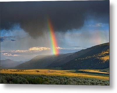 Rainbow Over Lamar Valley Metal Print by Yvonne Baur
