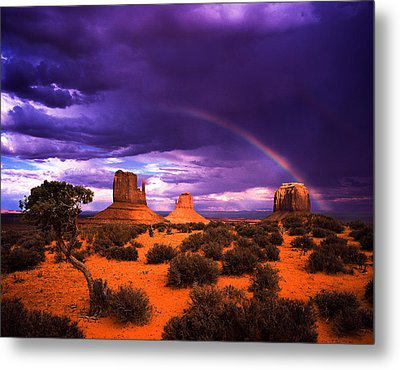 Rainbow Over Monument Valley Metal Print by Daniel Chui