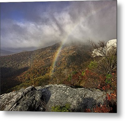 Rainbow Over Rough Ridge - Nc Autumn Scene Metal Print by Rob Travis