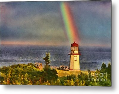 Rainbow Over The Lighthouse In Perce Quebec Metal Print