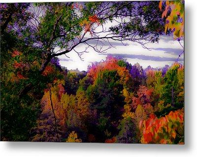 Rainbow Treetops Metal Print by DigiArt Diaries by Vicky B Fuller