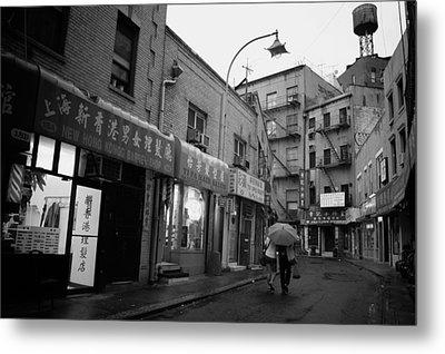 Rainy Evening - Chinatown - New York City Metal Print