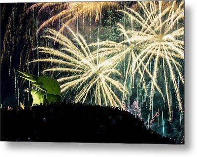Rainy Fireworks Metal Print by Yoshiki Nakamura