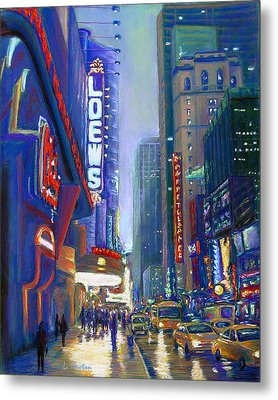 Metal Print featuring the painting Rainy Reflections In Times Square by Li Newton