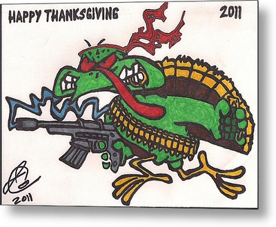 Metal Print featuring the drawing Rambo Turkey by Jeremiah Colley